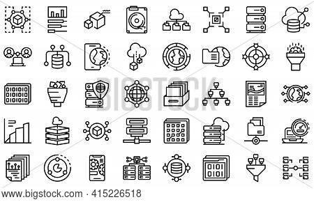 Big Data Icons Set. Outline Set Of Big Data Vector Icons For Web Design Isolated On White Background