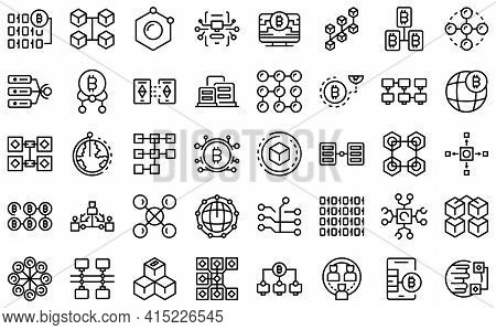 Block Chain Icons Set. Outline Set Of Block Chain Vector Icons For Web Design Isolated On White Back