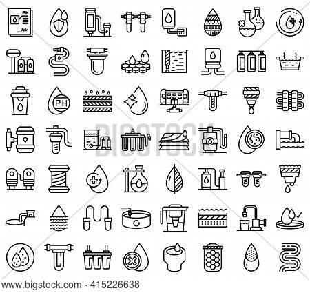 Equipment For Water Purification Icons Set. Outline Set Of Equipment For Water Purification Vector I