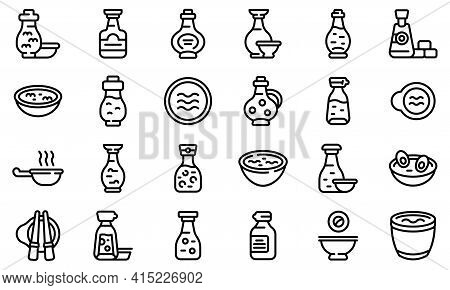 Soy Sauce Icons Set. Outline Set Of Soy Sauce Vector Icons For Web Design Isolated On White Backgrou