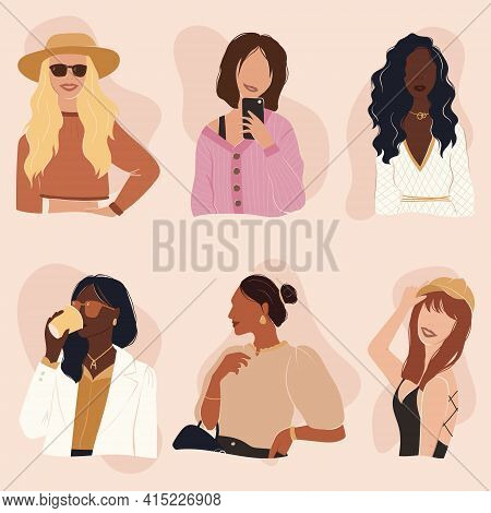 Flat Vector Set Of Cheerful Modern Trendy Girls. Strong Beautiful Independent Women Dressed In Diffe