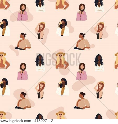 Flat Vector Seamless Patterns Of Cheerful Modern Trendy Girls. Strong Beautiful Independent Women Dr