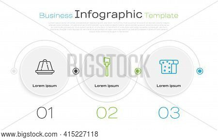 Set Line Pudding Custard, Spatula And Bread Toast. Business Infographic Template. Vector