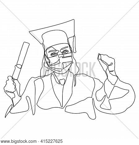 Continuous Single Drawn One Line Girl Student Drawn By Hand Picture Silhouette. Line Art. Graduate S
