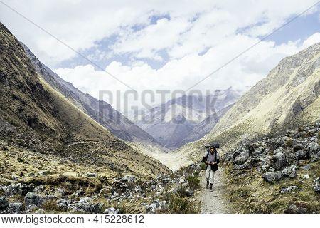 Backpacking On The Trail Leading To Machu Picchu On The Salkantay Trek, Peru.