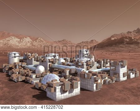 3d Illustration Of A Mars Colony, On A Red Rocky Terrain With Industrial, Modular, Architecture And