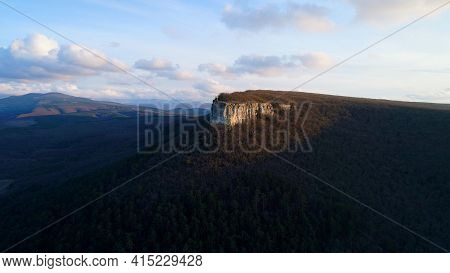Beautiful Mountain Panorama With Rock And Cross. Shot. Top View Of Sacred Rock With Cross On Backgro