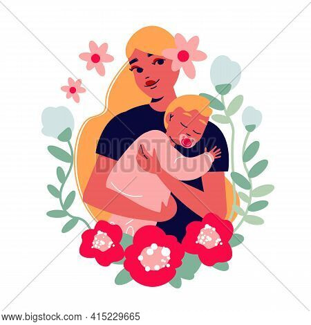 Mothers Day Card Composition With Character Of Pretty Mom With Baby Surrounded By Leaves And Flowers