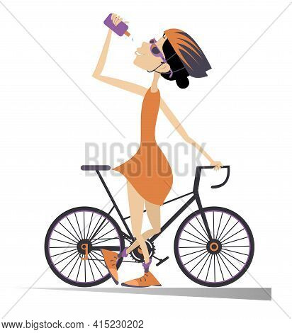 Cyclist Rides A Bike And Drinks Water Isolated Illustration. Cartoon Cyclist Woman In Helmet Stands
