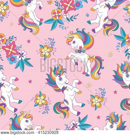Seamless Pattern With Beauty Unicorns And Flowers On Pink Background. Vector Illustration For Party,