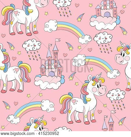Seamless Pattern With Toy Unicorns, Castles And Rainbows On Pink Background. Vector Illustration For