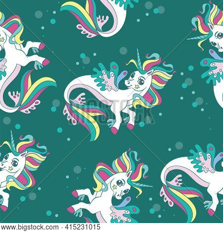 Seamless Pattern With Beauty Sea Unicorns On Green Background. Vector Illustration For Party, Print,