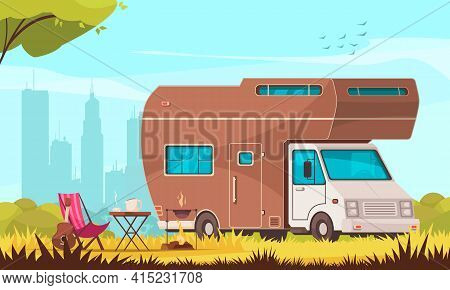 Camper With Barbecue Folding Table Deckchair Guitar In City Suburb Trailer Caravan Park Cartoon Comp