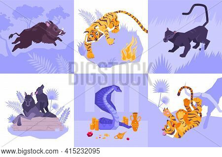 Six Squares Mowgli Icon Set With Different Animals Tiger Wolfs Puma Snake Vector Illustration