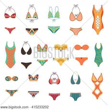Collection Of Fashion Swimsuits. Flat Icons Of Cartoon Trendy Female Beachwear, Swimwear, Bikini Ass