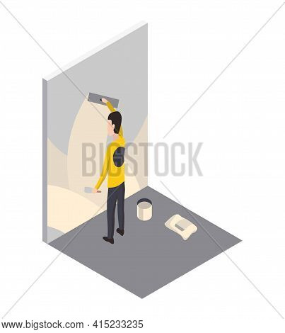 Isometric Worker. Home Repair Isometric Form With Craftsman Who Putty Or Level The Wall. Professiona