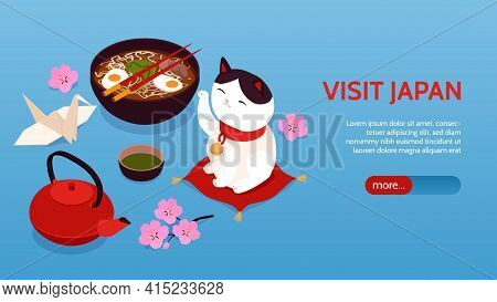 Isometric Japan Horizontal Banner With Visit Japan Headline And More Button Vector Illustration