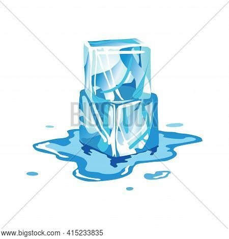 Water Ice Cube Icon. Frozen Melting Water Particles. Set Of Translucent Ice Cubes In Blue Colors. Re