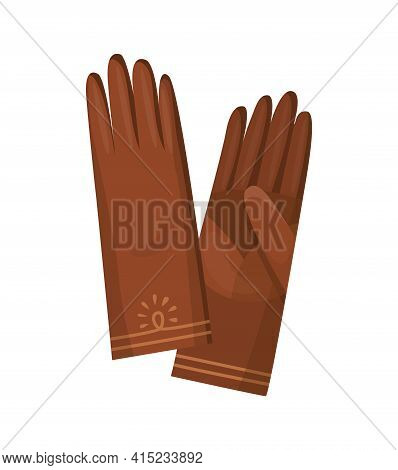 Winter Gloves Or Leather Mittens For Women As Hand Wear In Winter Or Autumn Season. Vector Design Sy