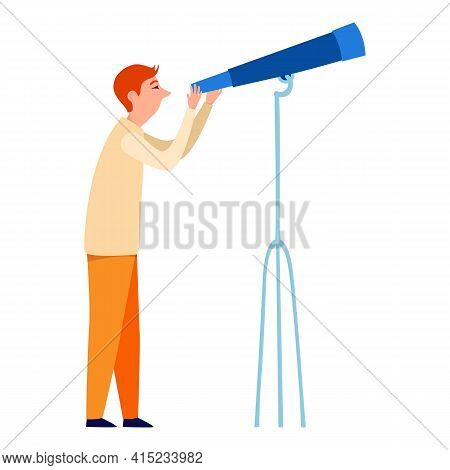 Cute Little Man Looking Into Telescope Vector Flat Illustration. Colorful Man Watching Through Spygl