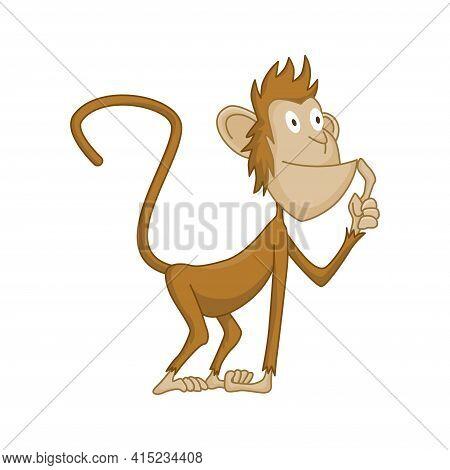 Cute Funny Monkey Colorful Cartoon Illustration. Vector Little Chimpanzee. Wildlife Character. Ape S