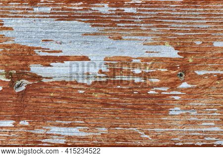 Close Up Of Outdoor Cedar Wood With Faded Stain Plus Mildew In Full Frame Format