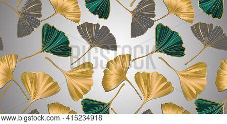 Vector Banner Of Ginkgo Biloba Leaf. Ink Line Art Design. Seamless Pattern.