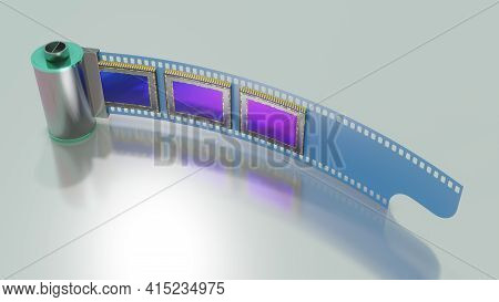 Concept Of Of Evolution In Photographic Technology, Film And Dital Camera Sensors, 3d Rendering