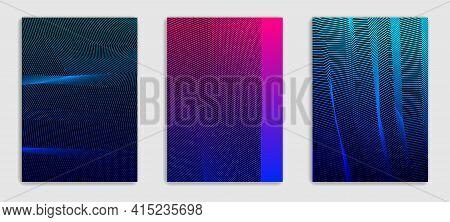 Linear Vector Minimal Trendy Brochures Set Design, Cover Templates, Geometric Halftone Gradient. For
