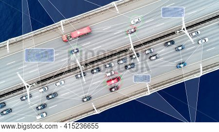 Self Driving Cars  On The Road Presentation, Driverless Vehicles, Aerial Top View From Above