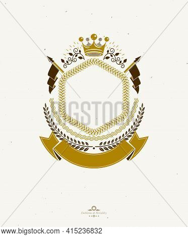 Graphic Emblem Composed Using Majestic Crown, Protection Shield And Ribbon. Heraldic Coat Of Arms De