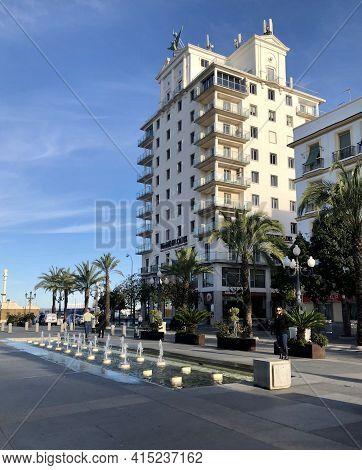 Cadiz, Andalucia, Spain - December 2019: Building Of The Newspaper Diario De Cadiz