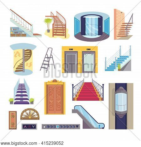 Flat Elevator Stairs Collection, Vector Illustration. Cartoon Step Stairs And Interior Door Set. Tra