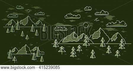 Mountains Range And Pine Forest Linear Vector Illustration On Dark, Line Art Drawing Of Mountain Pea