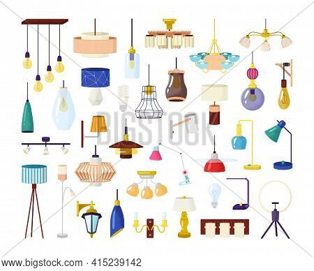 Lamp Element Set Vector Illustration. Classic Modern Ceiling-mounted Crystal And Lampshade Lamps. Ho