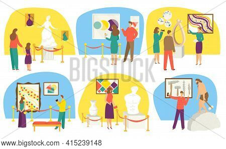 Museum Exhibition, Set Vector Illustration. Adult People, Children Charcater Spend Leisure Time In H