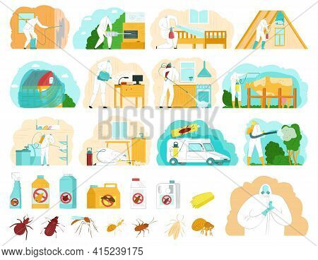 Pest Control Set, Vector Illustration. System Measures To Combat Insects, Ticks, Rodents. Disinfecti