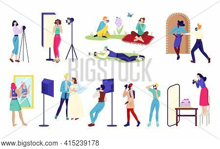Photographer Elements For Professional Studio, Vector Illustration.woman Man Charcater Work Together