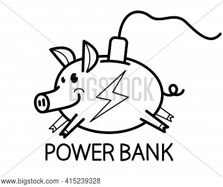 Humorous Power Bank Concept With Piggy Bank And Plug Vector Illustration Isolated.