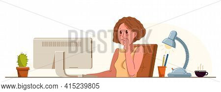 Girl Office Worker Pensive Concentrated On Her Work Vector Flat Illustration Isolated, Serious Atten