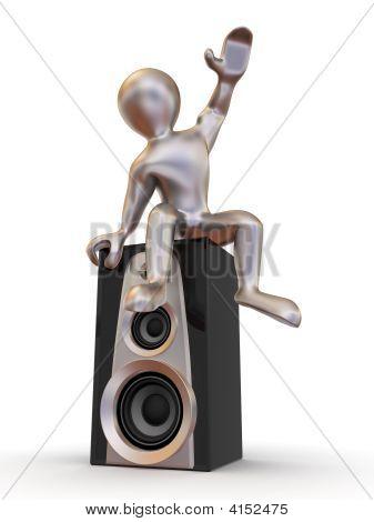 Man Sitting On Loudspeakers.