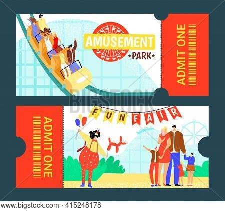 Amusement Park Ticket Design, Vector Illustration. Circus Entertainment Background, Carnival Tent At