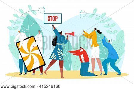 Offline Smartphone Screen, Woman Stop Digital Addiction, Vector Illustration. Exit Social Media Life