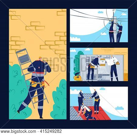 Electric Professional Occupation, Engineer Make Electricity Repair, Vector Illustration. Cartoon Rep