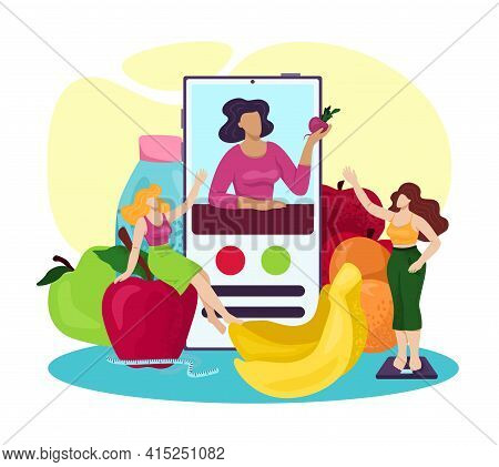 Nutrition Diet At Smartphone App, Food Meal For Healthy Fitness Vector Illustration. Woman Person Ch