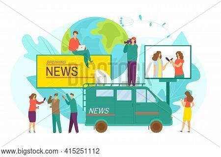 Breaking News From Reporter Journalist, Flat Tv Camera Vector Illustration. Journalist Work For Pres