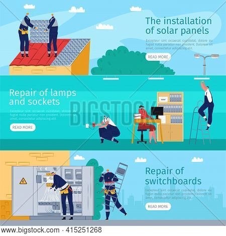Electric Service And Repair Banner Set, Vector Illustration. Worker Repairman With Flat Equipment To