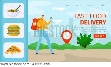 Food Delivery Service, Courier Man Character Bring Fast Order Package, Vector Illustration. Deliver
