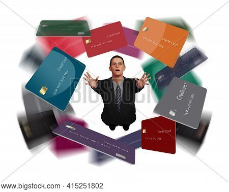 A Man In A Business Suit Grasps For Credit Cards That Swirl Overhead In This 3-d Illustration About