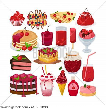 Sweet Dessert Cherry, Collection Cartoon Elements Vector Illustration. Delicious Homemade Organic Na